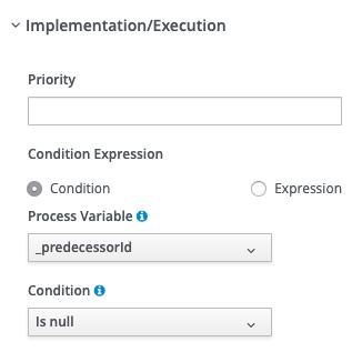 jBPM Implementation/Execution section for a null gateway.