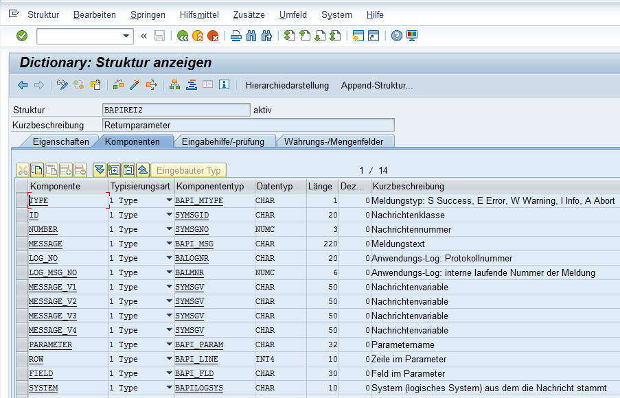 SAP Return Parameter