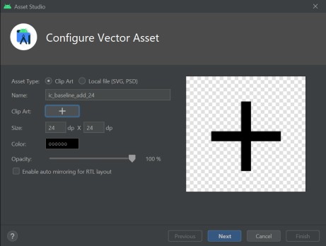 Preview for adding a vector asset