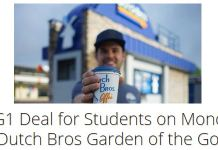B1G1 Deal for Students on Monday at Dutch Bros Garden of the Gods