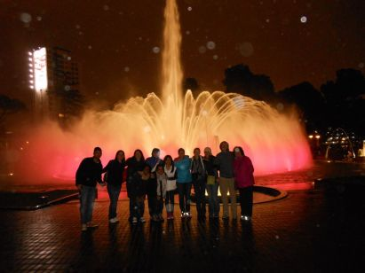 July participants pose for a photo at the Magic Water Circuit in Lima