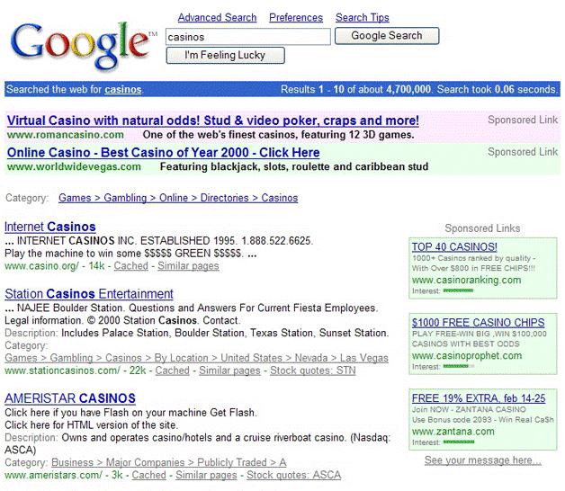 Google serp 2001