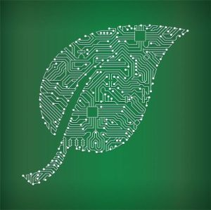 Leaf Circuit Board on Green Background