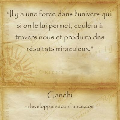 citation de Gandhi sur la puissance de l'univers et la loi d'attraction