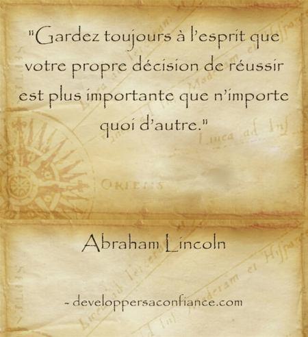 Citation d'Abraham Lincoln sur la volonté de réussir