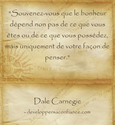 Citation de Dale Carnegie sur la force de la pensée positive