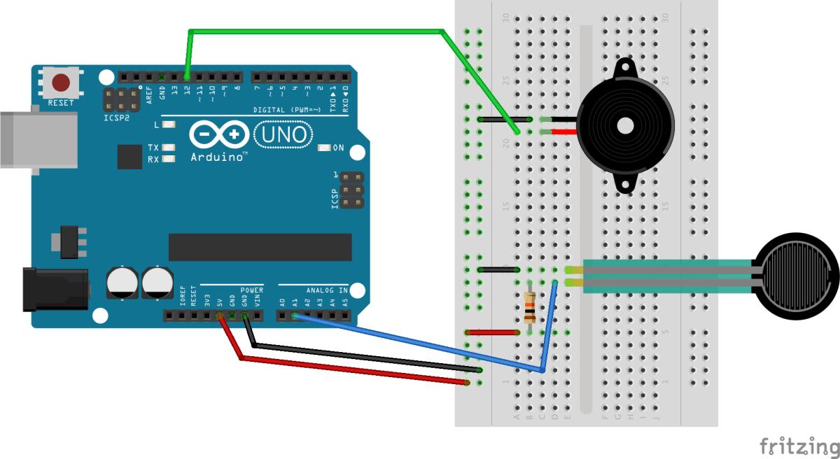 感圧センサーと電圧スピーカーをArduinoに繋いでみる