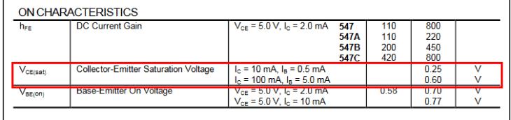 Caractéristiques électriques transistor BC547