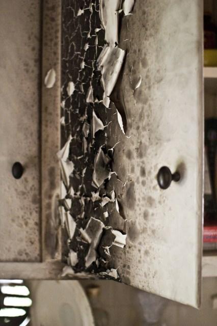 kitchen cabinet burnt peeling paint