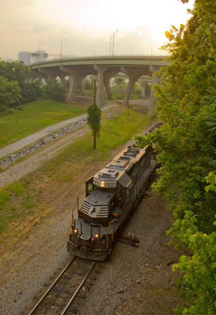 morning bridge walk train passing