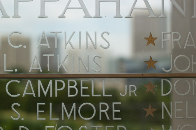 letters on glass war memorial