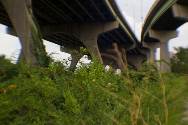 under a bridge for cars