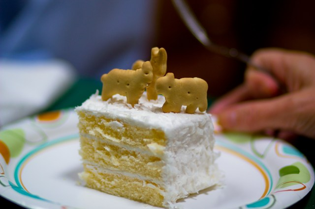 animal crackers on a cake
