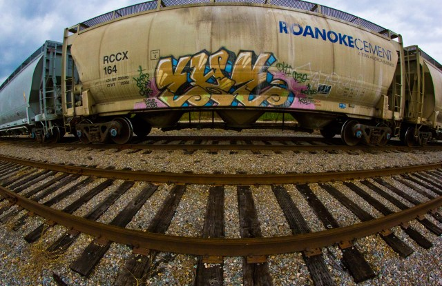 fish eye train bubble graffiti