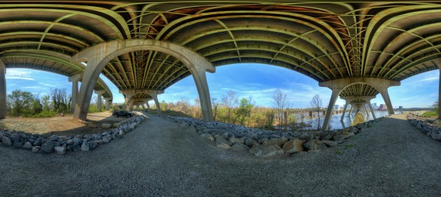 under 9th st bridge 360 panorama james river flood wall richmond