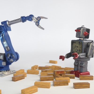 robots playing jenga