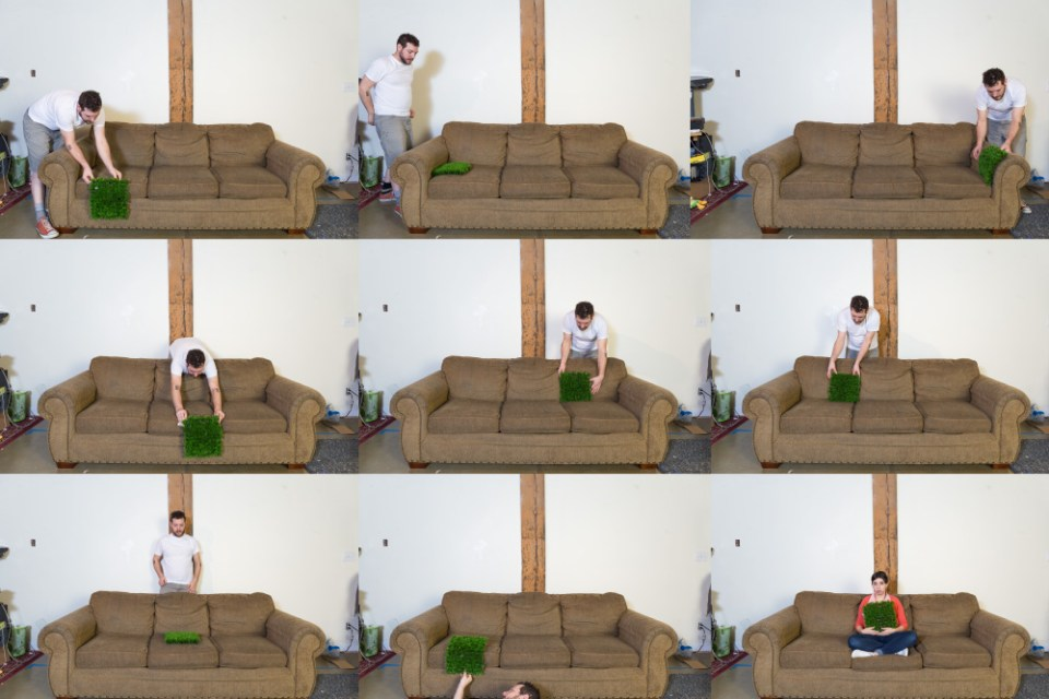 grass patch couch behind scenes