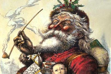[http://www.utexas.edu/features/2010/12/06/christmas_america/ 'Santa's Portrait' byThomas Nast, published in Harper's Weekly, 1881]