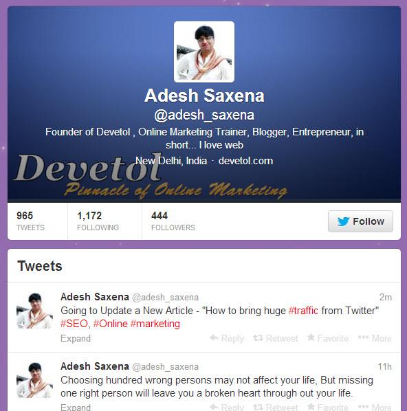 Adesh Saxena Twitter Profile