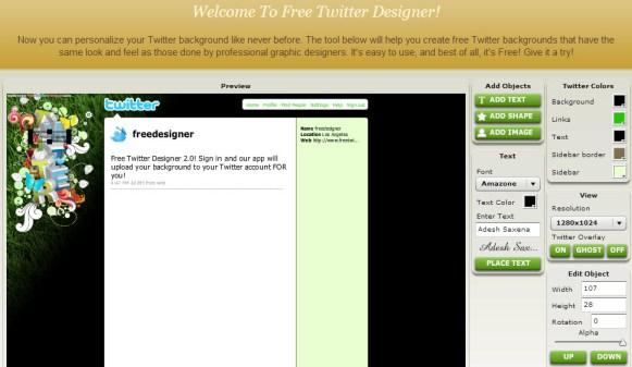 Free Twitter Designer tool