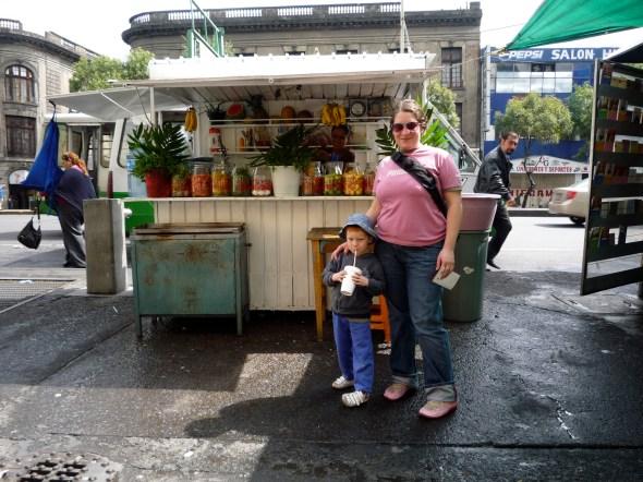 Puesto de jugos en la Ciudad de México.