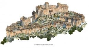 Recriação em desenho do castelo original, com tuas torres e muralhas.