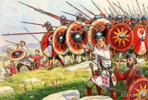 Acredite ou não, essa gravura mostra um exército romano lutando contra invasores germânicos, nos idos do século IV EC. (Fonte: Late Roman Legions & military: https://goo.gl/1CDHaj / Autor: Igor Dzis)