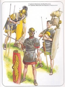 Legionários romanos do fim do período republicano (o soldados com escudo amarelo) e do Início do Império, do período do governo de Otávio Augusto (Século I AEC - Século I EC) - (Fonte: Table of Contents - http://goo.gl/DdQqow / Autor: Desconhecido)