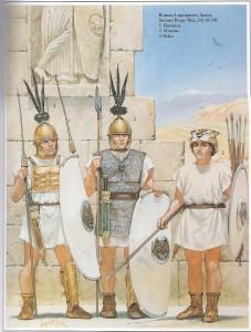 Legionários romanos na península ibérica, durante a Segunda Guerra Púnica (218 - 201 AEC) - ((Fonte: Table of Contents - http://goo.gl/DdQqow / Autor: Angus McBride)