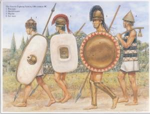 Guerreiros Úmbrios e de outras tribos italiotas do Norte, que lutavam com frequência contra Roma (Fonte: Table of Contents - http://goo.gl/DdQqow / Autor: Richard Hook)