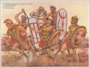 gravuras mostrando hoplitas romanos enfrentando guerreiros celtas do norte da Itália (4º Século AEC) - (Fonte: Table of Contents - http://goo.gl/DdQqow / Autor: Desconhecido)