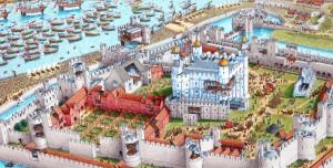 Gravura mostrando a fortaleza da Torre de Londres em 1533, durante a procissão de coroação da segunda esposa de Henrique VIII, Ana Bolena (Fonte: stephenbiesty.co.uk / Autor Stephen Biesty)
