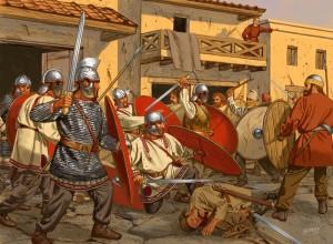 Soldados romanos enfrentando os invasores francos na Gália, século IV EC (Fonte: Late Roman Legions & military: https://goo.gl/1CDHaj / Autor: Desconhecido)