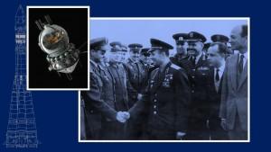 A capsula Vostok e uma foto da época mostrando Yuri Gagarin cumprimentando um militar.