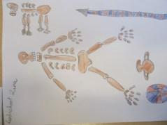 Zina tekende het graf van een Romein na. Links bovenaan het skelet van het hondje.