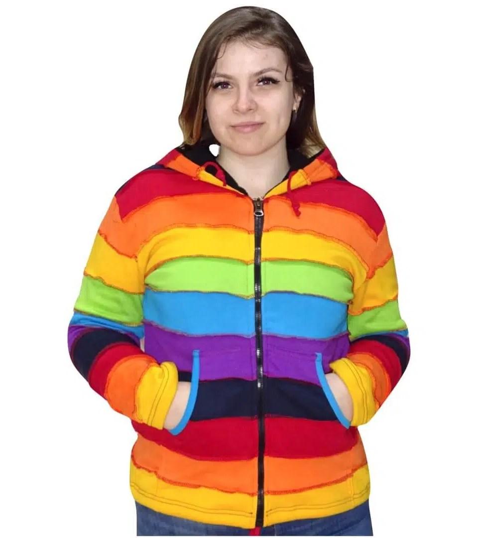 Szivárvány színű rövid kabát