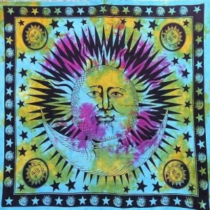 Nap mintás falidísz Indiából kék színben