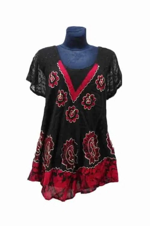 Indiai nyári tunika, batikolt rs150 piros