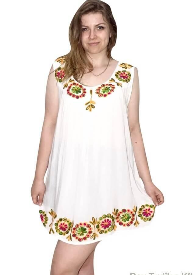 Indiai nyári ujjatlan tunika fehér színben hímzett minta