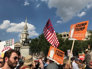 Anti-Trump protestors, Trafalgar Square, London, July 2018