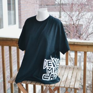 Black DMC logo tee on a manakin torso