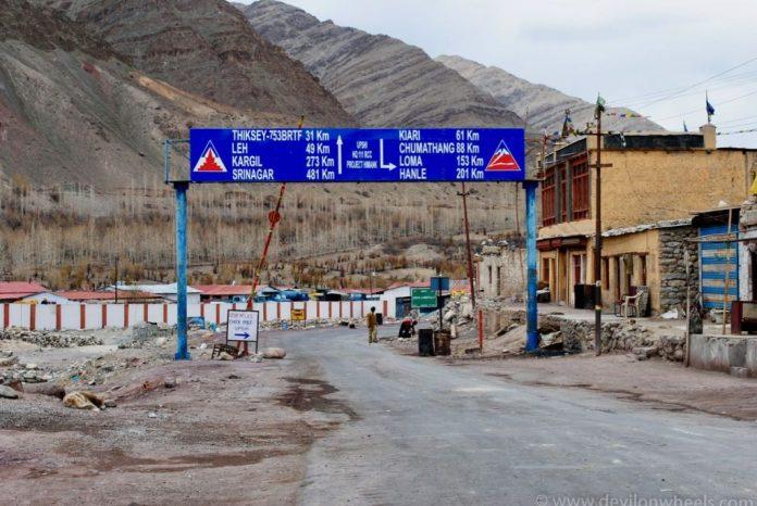 Manali Leh Highway at Upshi