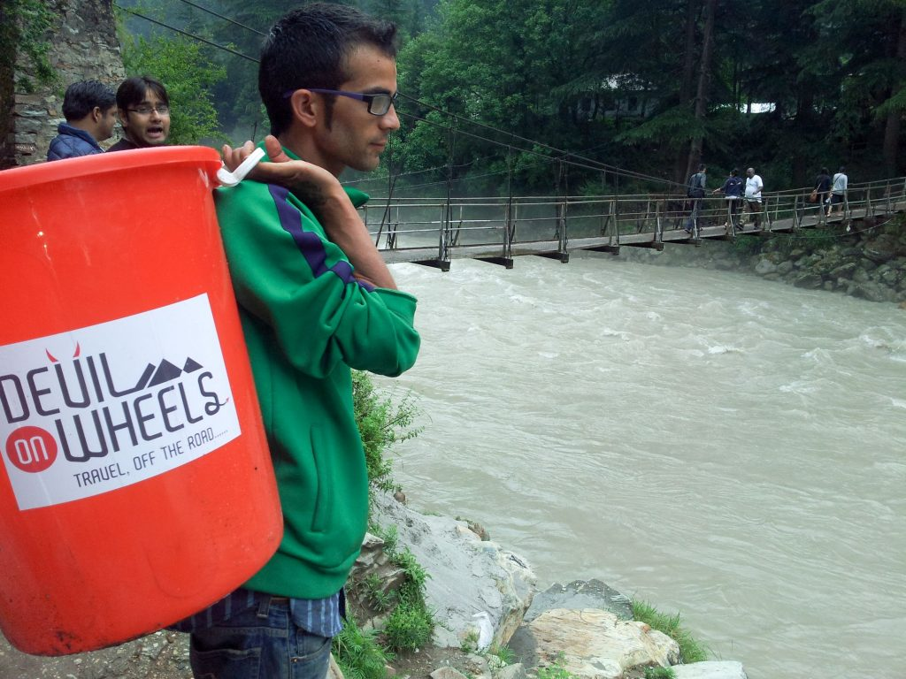 A moment from Devil On Wheels Clean-up drive in Kasol