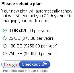 Purchase Storage from Google