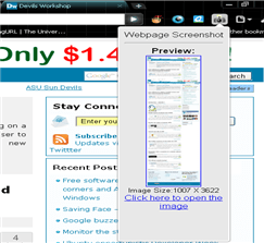 webpage extension screenshot
