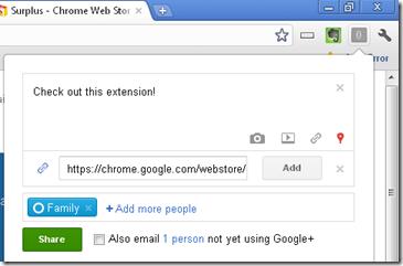 Google Plus integration for Chrome