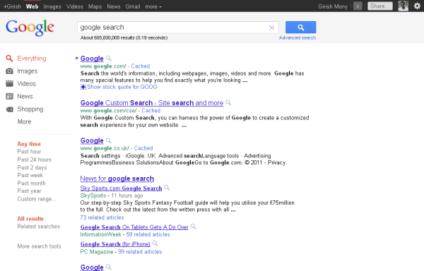 New Google search interface