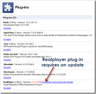Keep your Browser plug-ins and add-ons up to date