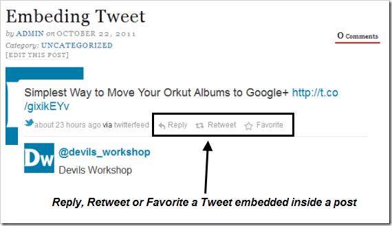 Embeded Tweet within a WordPress Post