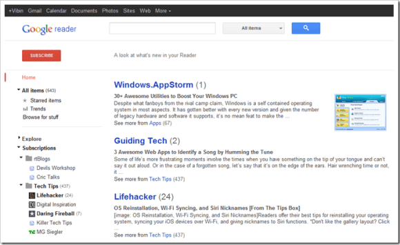 google-reader-interface